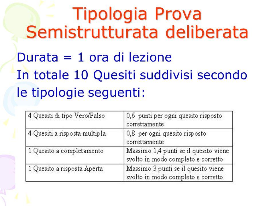 Tipologia Prova Semistrutturata deliberata Durata = 1 ora di lezione In totale 10 Quesiti suddivisi secondo le tipologie seguenti: