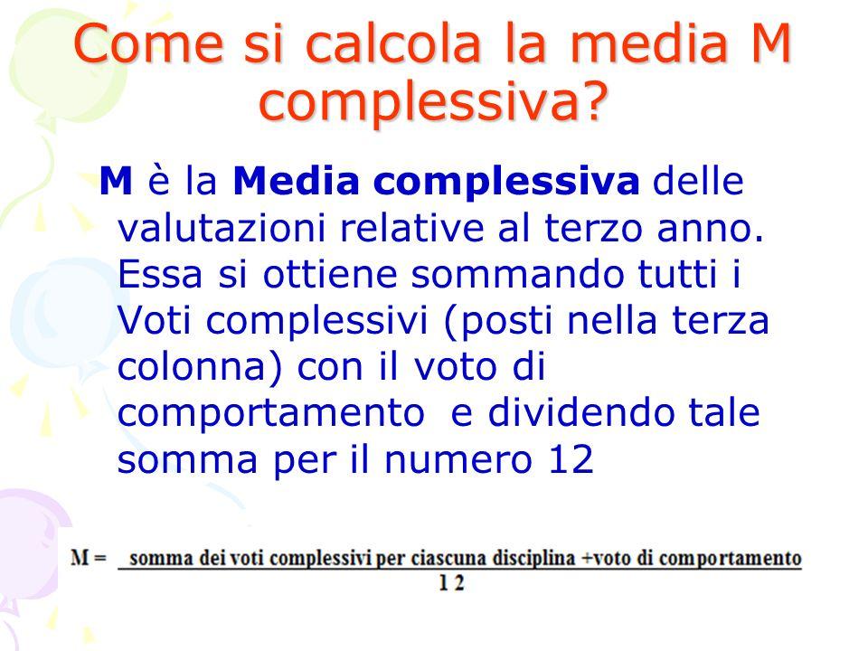 Come si calcola la media M complessiva? M è la Media complessiva delle valutazioni relative al terzo anno. Essa si ottiene sommando tutti i Voti compl