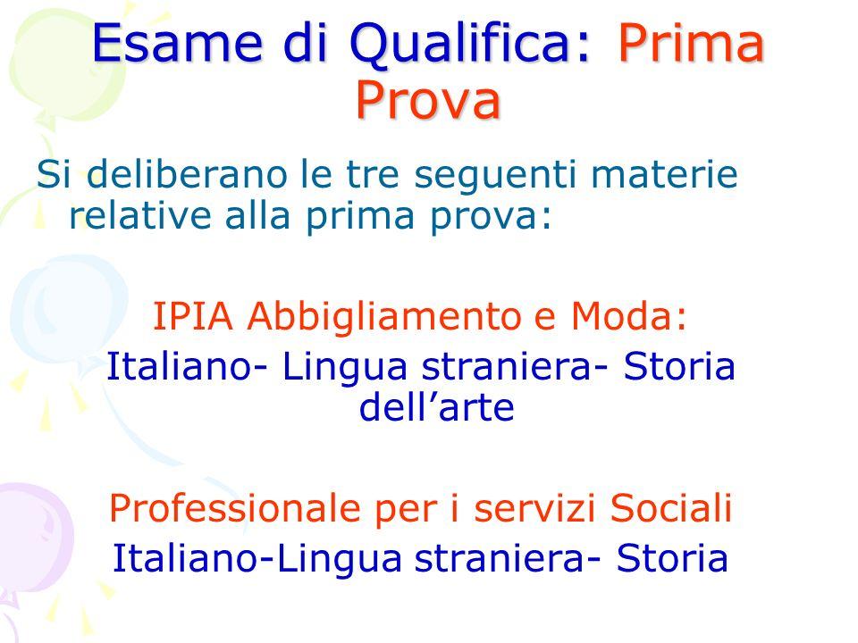 Esame di Qualifica: Prima Prova Si deliberano le tre seguenti materie relative alla prima prova: IPIA Abbigliamento e Moda: Italiano- Lingua straniera
