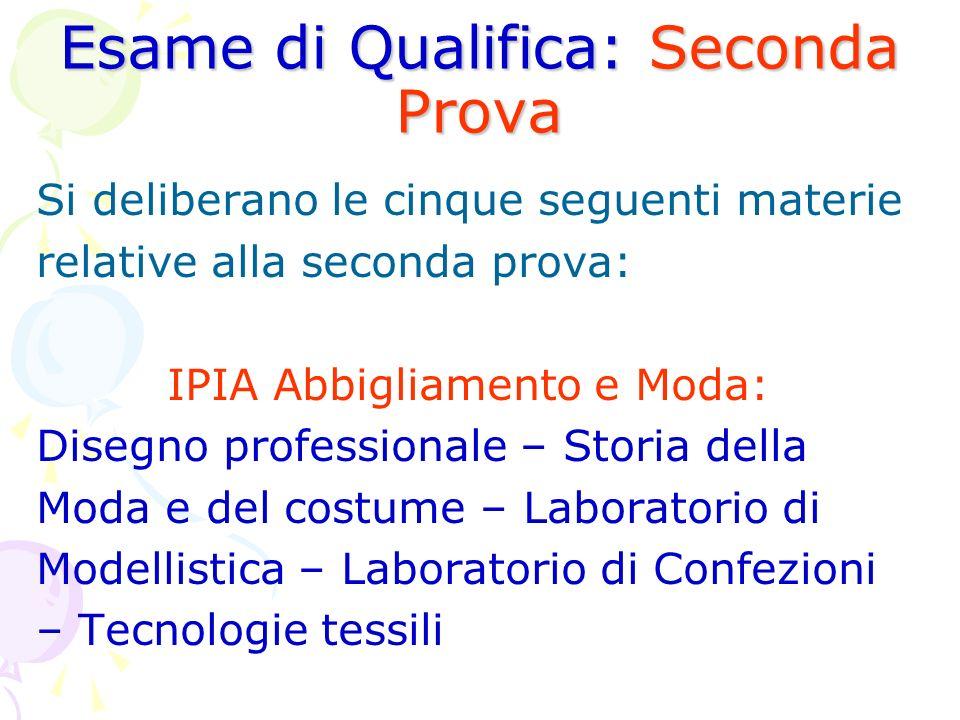 Esame di Qualifica: Seconda Prova Si deliberano le cinque seguenti materie relative alla seconda prova: IPIA Abbigliamento e Moda: Disegno professiona