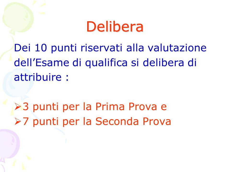 Delibera Dei 10 punti riservati alla valutazione dellEsame di qualifica si delibera di attribuire : 3 punti per la Prima Prova e 7 punti per la Seconda Prova