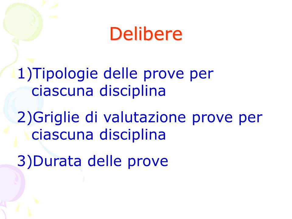 Delibere 1)Tipologie delle prove per ciascuna disciplina 2)Griglie di valutazione prove per ciascuna disciplina 3)Durata delle prove