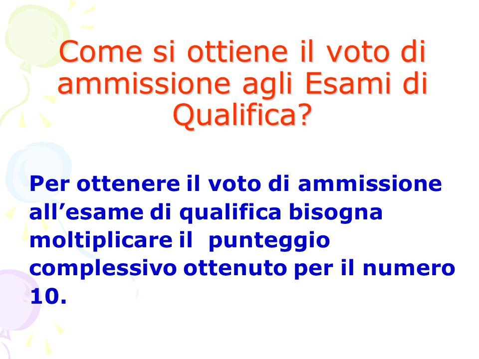 Come si ottiene il voto di ammissione agli Esami di Qualifica? Per ottenere il voto di ammissione allesame di qualifica bisogna moltiplicare il punteg