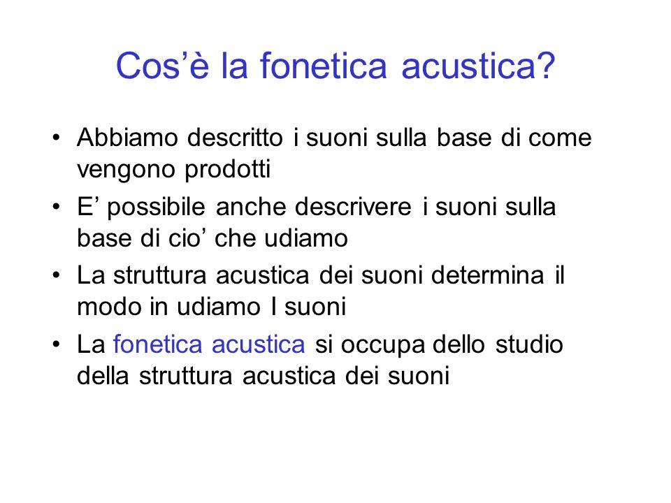 Cosè la fonetica acustica? Abbiamo descritto i suoni sulla base di come vengono prodotti E possibile anche descrivere i suoni sulla base di cio che ud