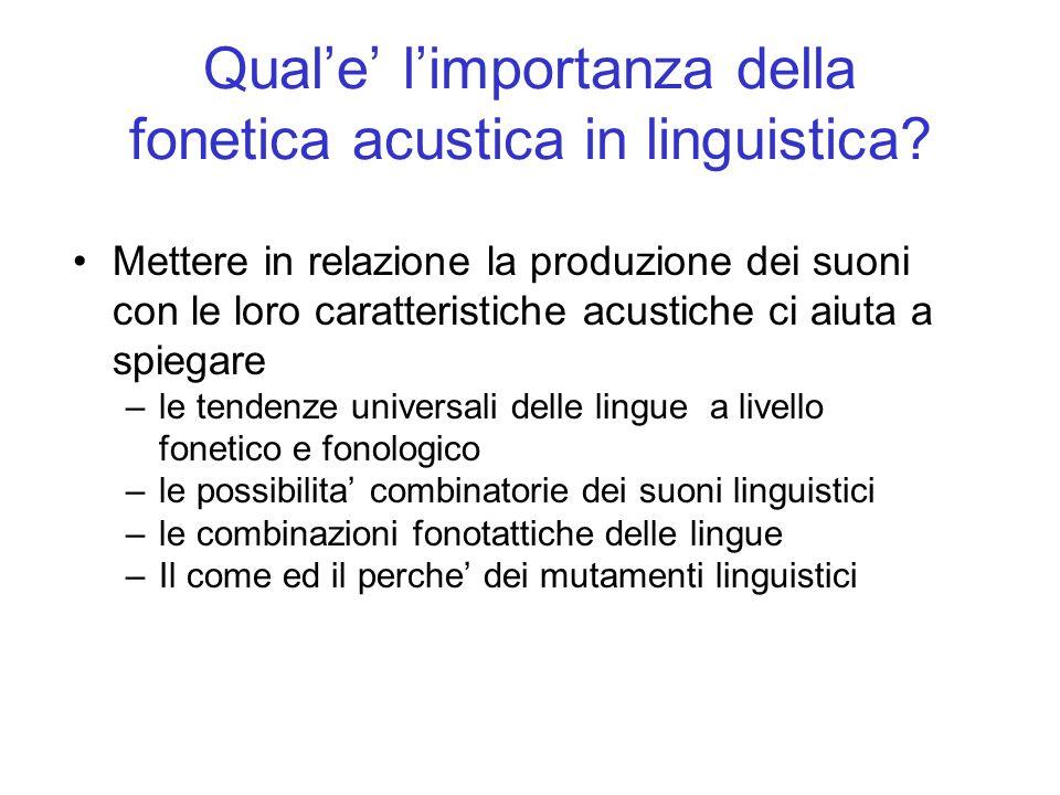 Quale limportanza della fonetica acustica in linguistica? Mettere in relazione la produzione dei suoni con le loro caratteristiche acustiche ci aiuta
