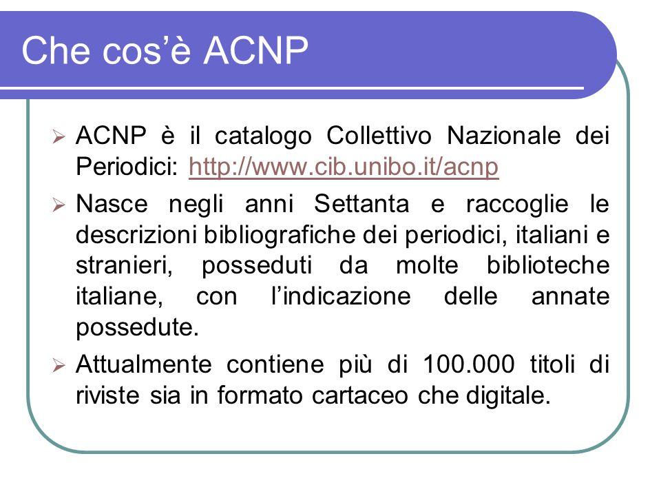 Che cosè ACNP ACNP è il catalogo Collettivo Nazionale dei Periodici: http://www.cib.unibo.it/acnphttp://www.cib.unibo.it/acnp Nasce negli anni Settanta e raccoglie le descrizioni bibliografiche dei periodici, italiani e stranieri, posseduti da molte biblioteche italiane, con lindicazione delle annate possedute.