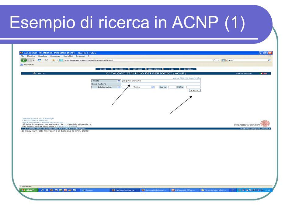 Esempio di ricerca in ACNP (1)