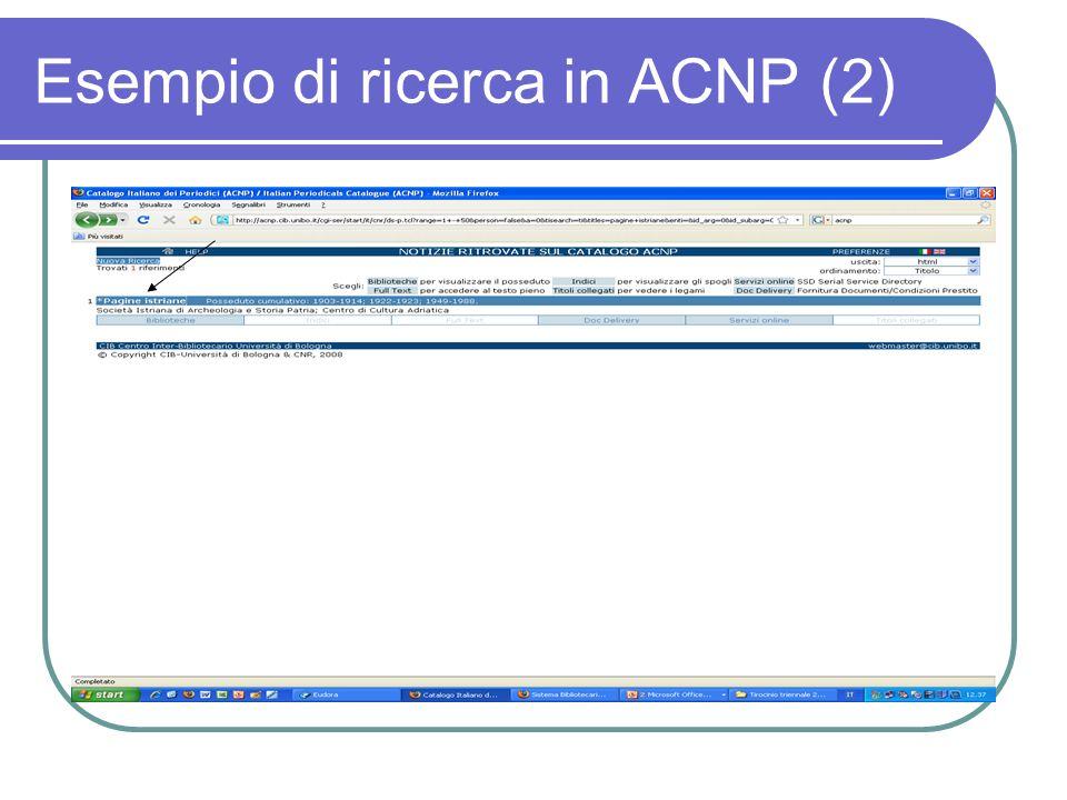 Esempio di ricerca in ACNP (2)