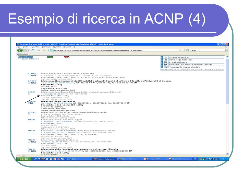 Esempio di ricerca in ACNP (4)
