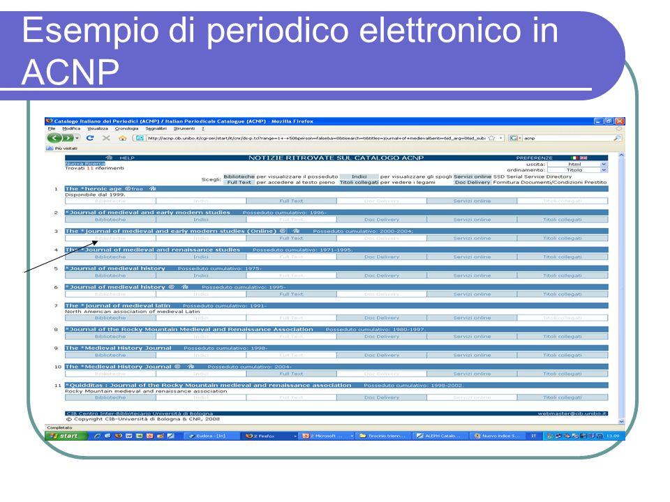 Esempio di periodico elettronico in ACNP