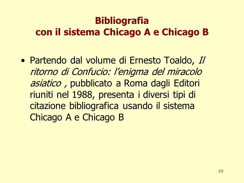 30 Bibliografia con il sistema Chicago A e Chicago B Partendo dal volume di Ernesto Toaldo, Il ritorno di Confucio: lenigma del miracolo asiatico, pub