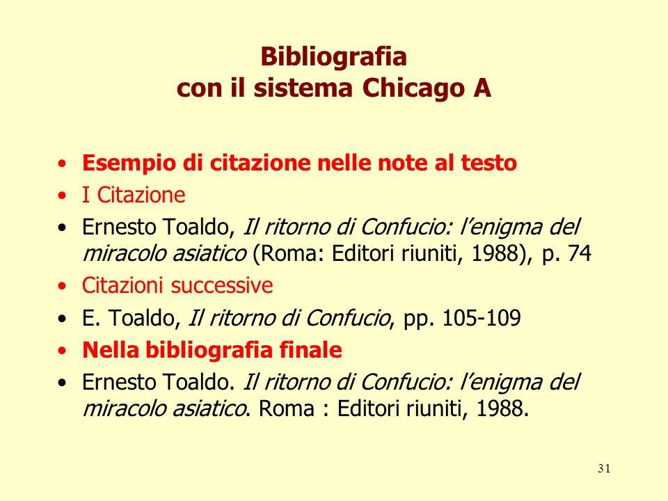 31 Bibliografia con il sistema Chicago A Esempio di citazione nelle note al testo I Citazione Ernesto Toaldo, Il ritorno di Confucio: lenigma del mira