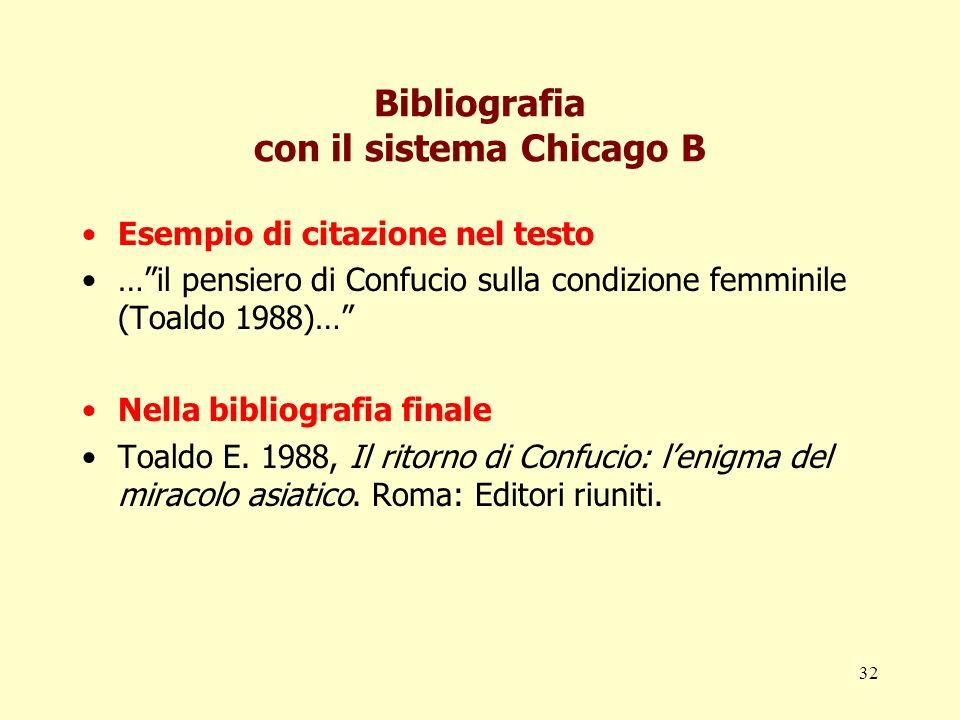 32 Bibliografia con il sistema Chicago B Esempio di citazione nel testo …il pensiero di Confucio sulla condizione femminile (Toaldo 1988)… Nella bibli