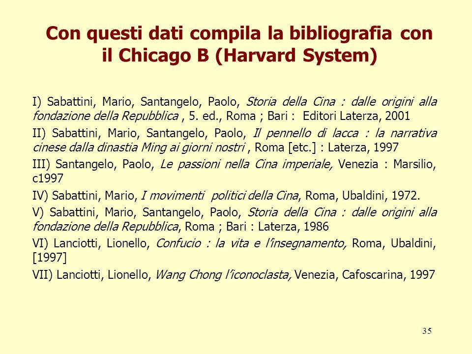 35 Con questi dati compila la bibliografia con il Chicago B (Harvard System) I) Sabattini, Mario, Santangelo, Paolo, Storia della Cina : dalle origini