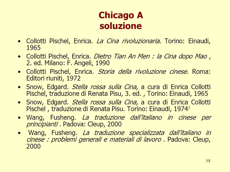 38 Chicago A soluzione Collotti Pischel, Enrica. La Cina rivoluzionaria. Torino: Einaudi, 1965 Collotti Pischel, Enrica. Dietro Tian An Men : la Cina