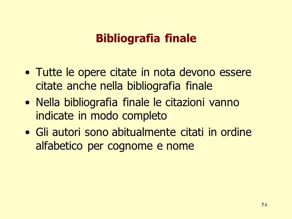 54 Bibliografia finale Tutte le opere citate in nota devono essere citate anche nella bibliografia finale Nella bibliografia finale le citazioni vanno