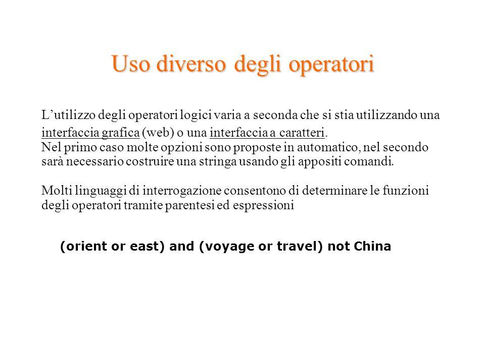 Uso diverso degli operatori Lutilizzo degli operatori logici varia a seconda che si stia utilizzando una interfaccia grafica (web) o una interfaccia a