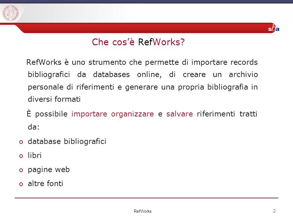 Che cosè RefWorks.