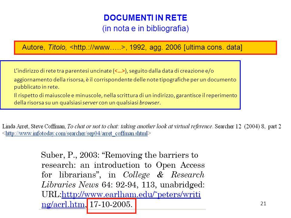 Lindirizzo di rete tra parentesi uncinate ( ), seguito dalla data di creazione e/o aggiornamento della risorsa, è il corrispondente delle note tipografiche per un documento pubblicato in rete.