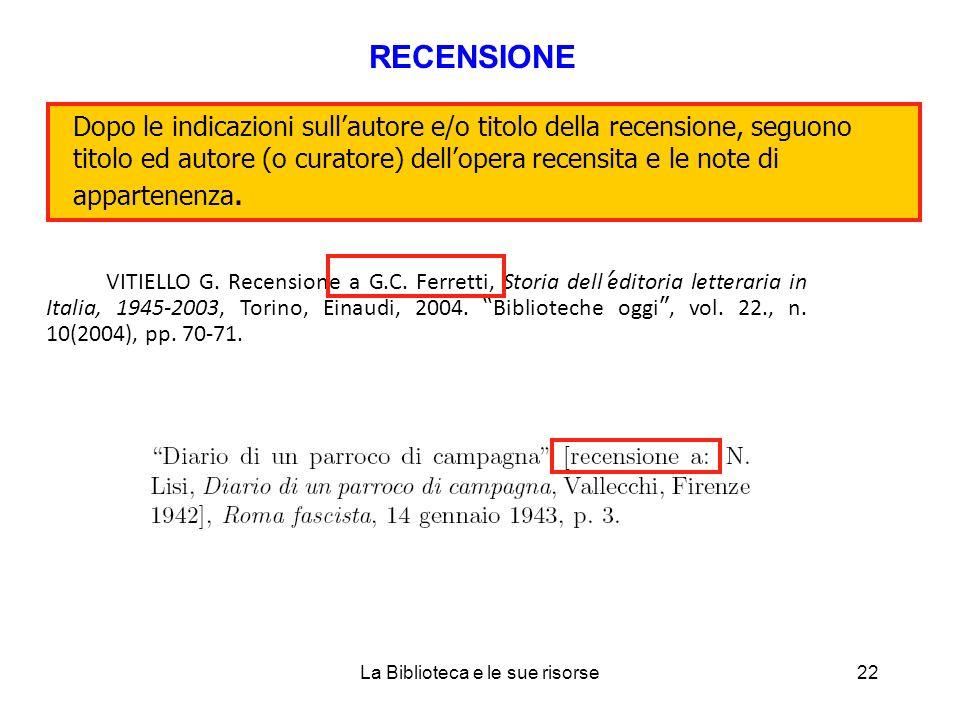 VITIELLO G. Recensione a G.C.