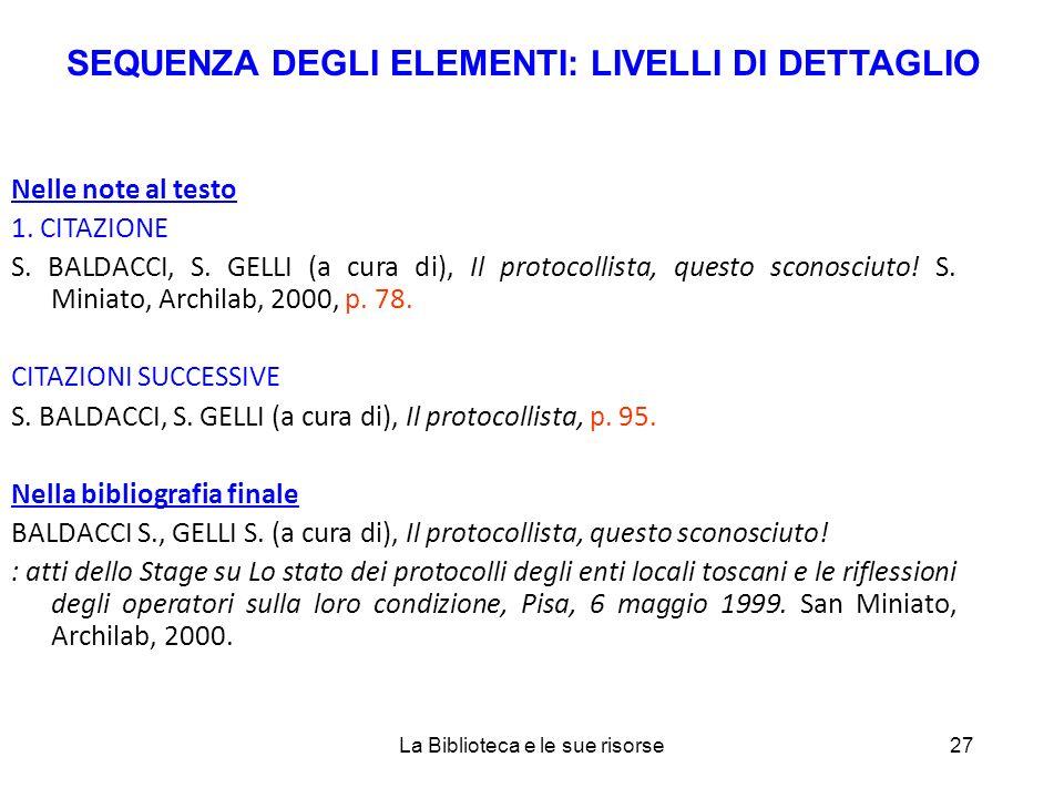 Nelle note al testo 1. CITAZIONE S. BALDACCI, S.