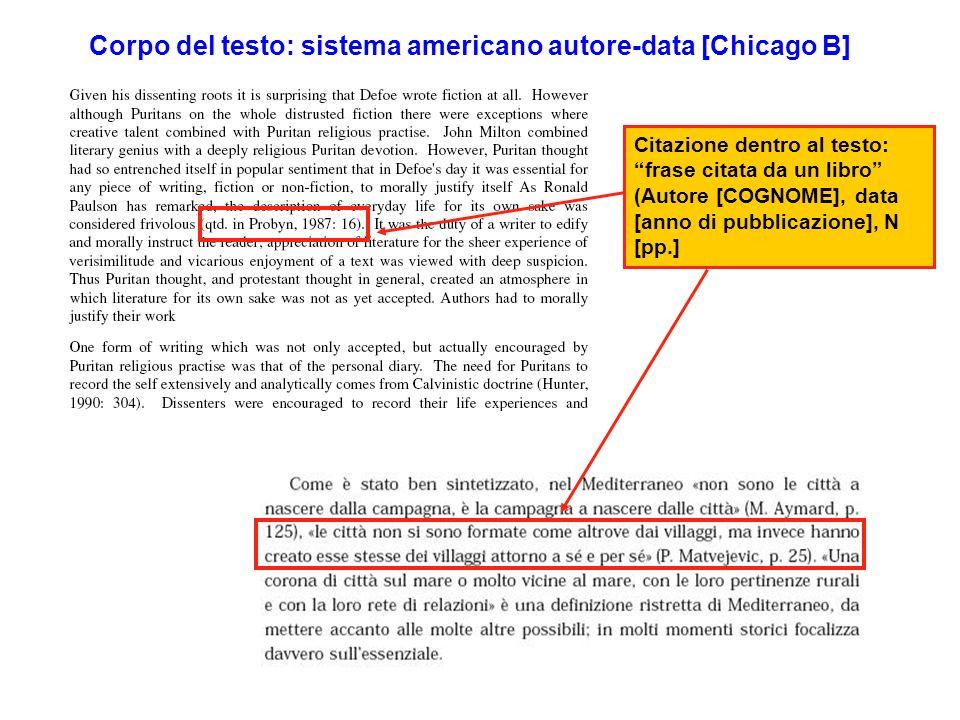 Corpo del testo: sistema americano autore-data [Chicago B] Citazione dentro al testo: frase citata da un libro (Autore [COGNOME], data [anno di pubblicazione], N [pp.]