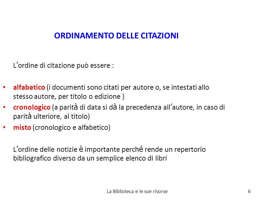 SUGGERIMENTI UTILI (siti consultati) Bibliografie: lettura e compilazione (SBA Università di Padova) http://www.cab.unipd.it/servizi/gestione- bibliografie/bibliografie-lettura-e-compilazione Ricerca bibliografica e redazione di documenti (Università LIUC) http://www.biblio.liuc.it/pagineita.asp?codice=4 Brevi consigli per la stesura di un testo scritto (Corso in Scienze della Comunicazione Scritta e Ipertestuale) http://hdl.handle.net/1889/400 Come si legge una bibliografia (Biblioteca di Statistica) http://biblioteca.stat.unipd.it/bibliografia_come_leggere.htm PER LA TESI ECO, U.