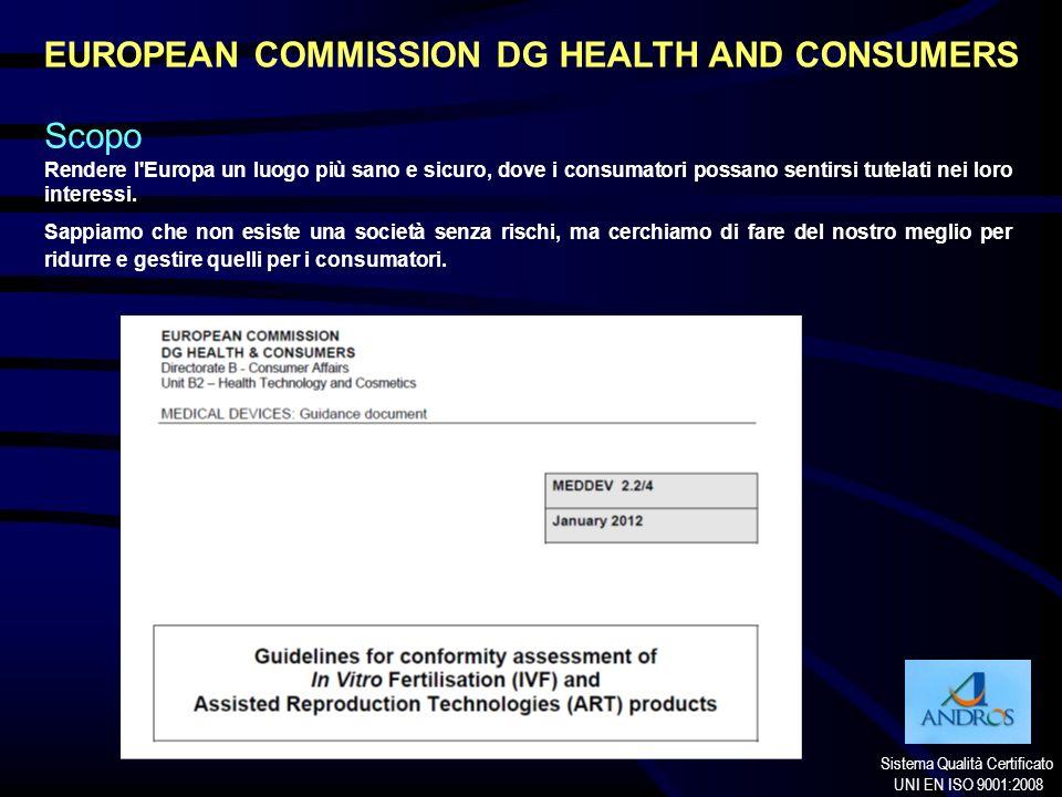 Sistema Qualità Certificato UNI EN ISO 9001:2008 EUROPEAN COMMISSION DG HEALTH AND CONSUMERS Scopo Rendere l'Europa un luogo più sano e sicuro, dove i
