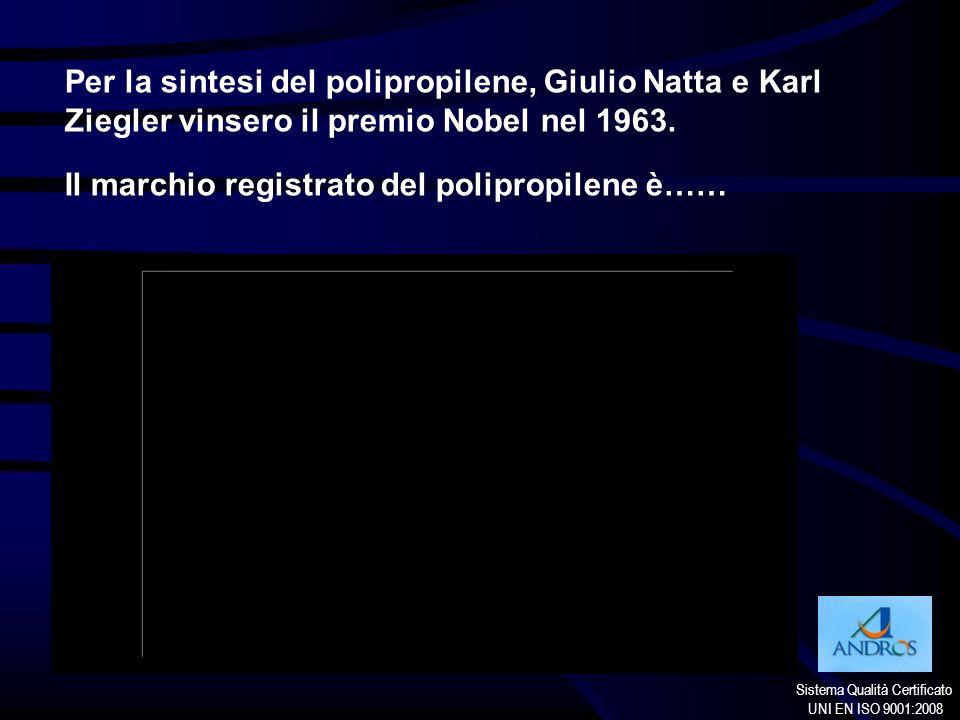 Sistema Qualità Certificato UNI EN ISO 9001:2008 Per la sintesi del polipropilene, Giulio Natta e Karl Ziegler vinsero il premio Nobel nel 1963. Il ma