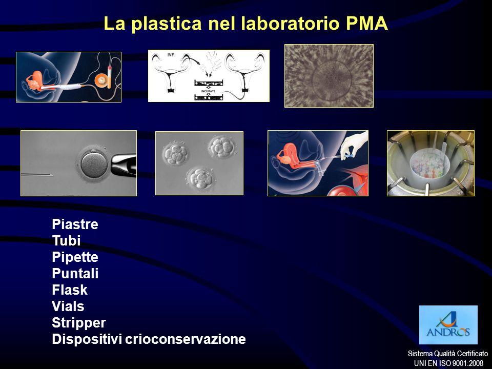 Sistema Qualità Certificato UNI EN ISO 9001:2008 La plastica nel laboratorio PMA Piastre Tubi Pipette Puntali Flask Vials Stripper Dispositivi criocon
