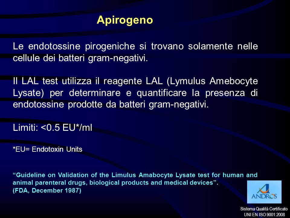 Sistema Qualità Certificato UNI EN ISO 9001:2008 Apirogeno Le endotossine pirogeniche si trovano solamente nelle cellule dei batteri gram-negativi. Il