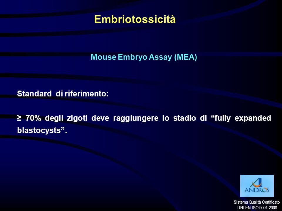 Sistema Qualità Certificato UNI EN ISO 9001:2008 Embriotossicità Mouse Embryo Assay (MEA) Standard di riferimento: 70% degli zigoti deve raggiungere l