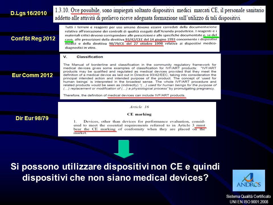 Sistema Qualità Certificato UNI EN ISO 9001:2008 D.Lgs 16/2010 Conf St Reg 2012 Eur Comm 2012 Dir Eur 98/79 Si possono utilizzare dispositivi non CE e