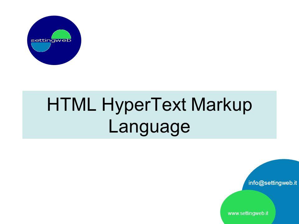 HTML HyperText Markup Language www.settingweb.it info@settingweb.it