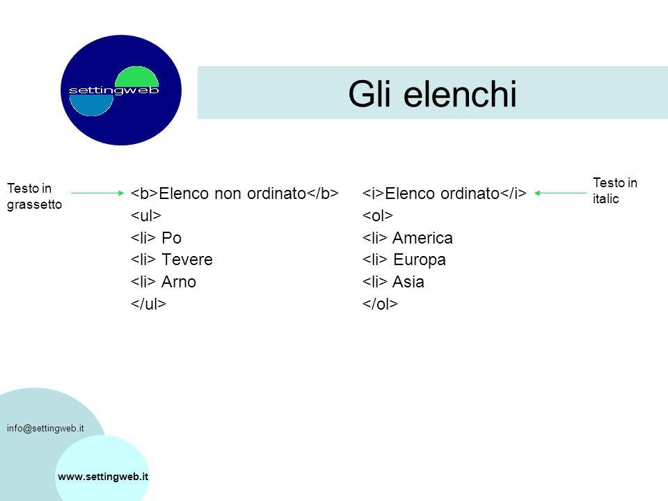 Gli elenchi Elenco non ordinato Po Tevere Arno www.settingweb.it Elenco ordinato America Europa Asia Testo in italic Testo in grassetto info@settingweb.it