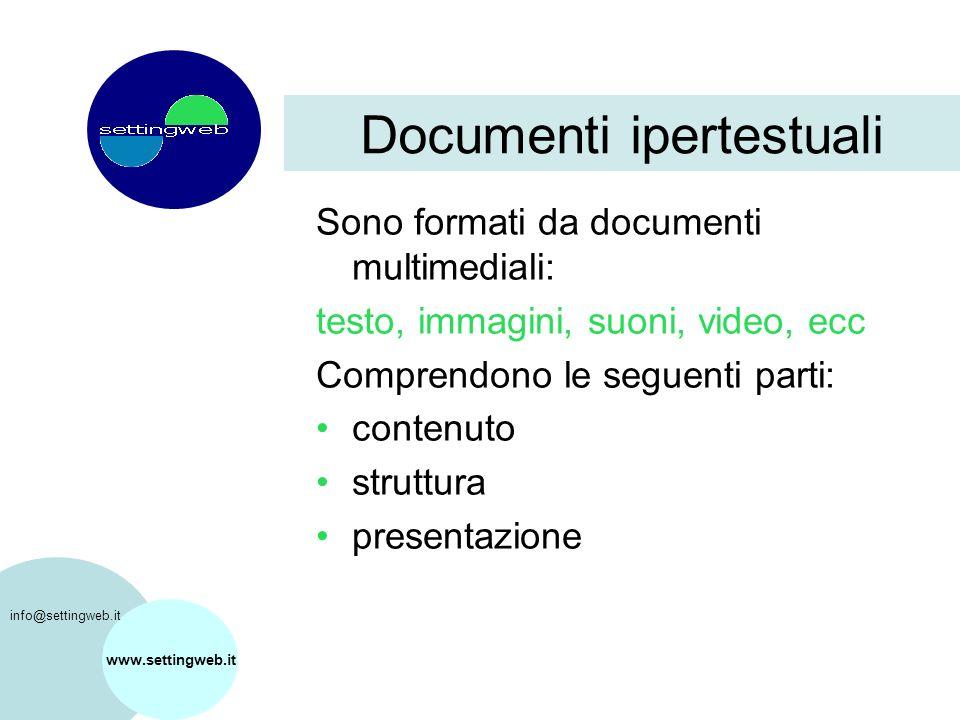 www.settingweb.it Sono formati da documenti multimediali: testo, immagini, suoni, video, ecc Comprendono le seguenti parti: contenuto struttura presentazione Documenti ipertestuali info@settingweb.it