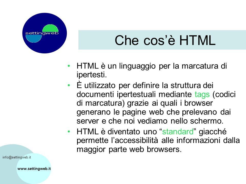 www.settingweb.it HTML è un linguaggio per la marcatura di ipertesti.
