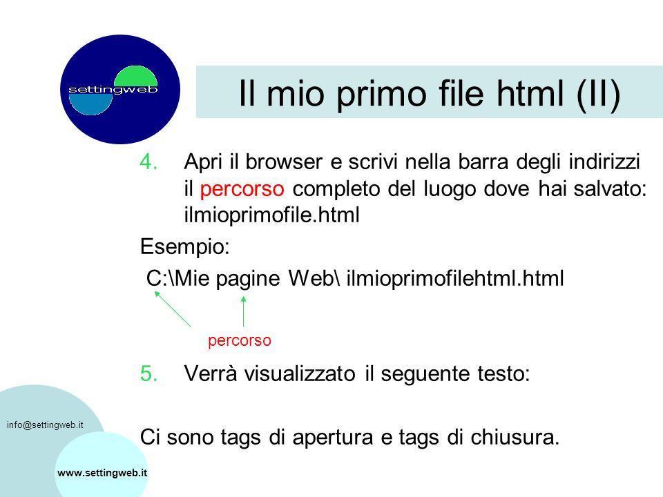 Il mio primo file html (II) 4.Apri il browser e scrivi nella barra degli indirizzi il percorso completo del luogo dove hai salvato: ilmioprimofile.html Esempio: C:\Mie pagine Web\ ilmioprimofilehtml.html 5.Verrà visualizzato il seguente testo: Ci sono tags di apertura e tags di chiusura.