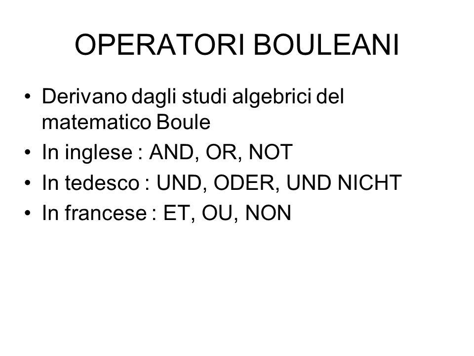 OPERATORI BOULEANI Derivano dagli studi algebrici del matematico Boule In inglese : AND, OR, NOT In tedesco : UND, ODER, UND NICHT In francese : ET, O
