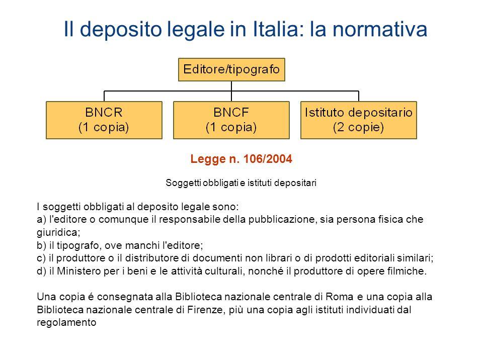 Il deposito legale in Italia: la normativa Legge n. 106/2004 Soggetti obbligati e istituti depositari I soggetti obbligati al deposito legale sono: a)