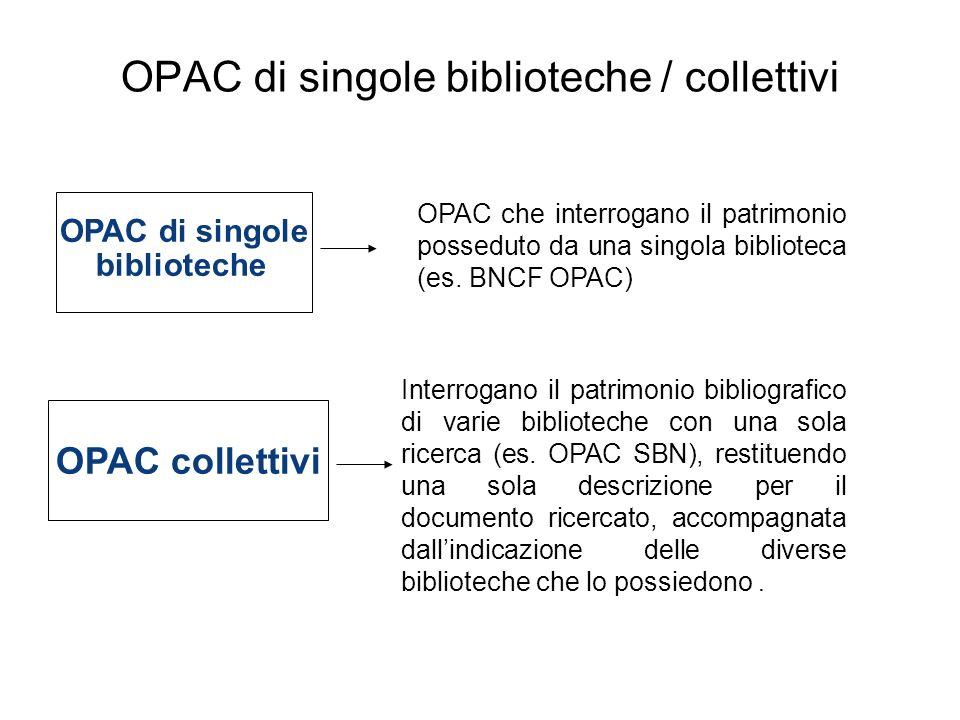 OPAC di singole biblioteche / collettivi OPAC di singole biblioteche OPAC che interrogano il patrimonio posseduto da una singola biblioteca (es. BNCF
