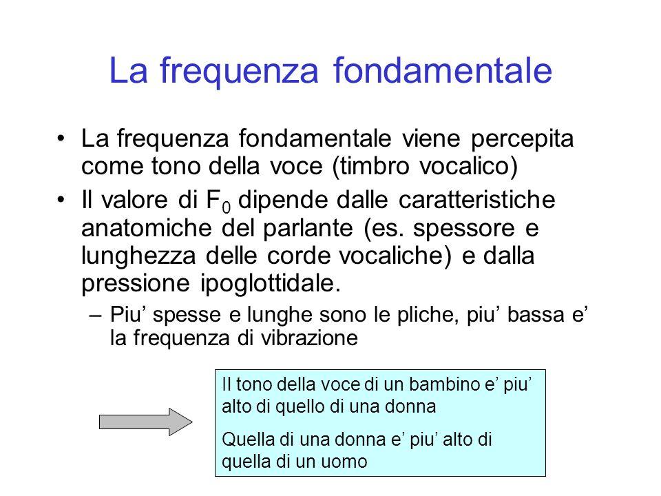 La frequenza fondamentale La frequenza fondamentale viene percepita come tono della voce (timbro vocalico) Il valore di F 0 dipende dalle caratteristi
