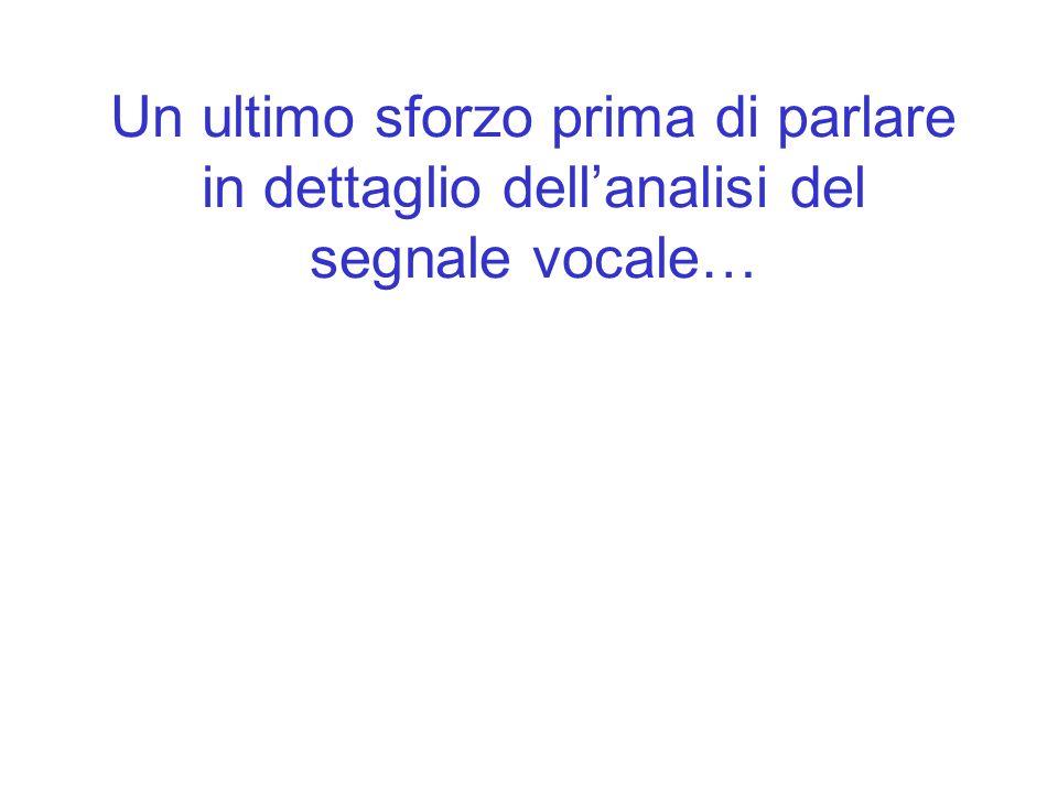 Un ultimo sforzo prima di parlare in dettaglio dellanalisi del segnale vocale…