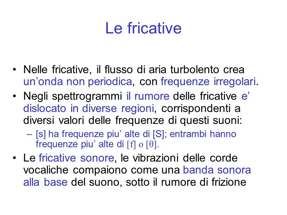 Nelle fricative, il flusso di aria turbolento crea unonda non periodica, con frequenze irregolari. Negli spettrogrammi il rumore delle fricative e dis