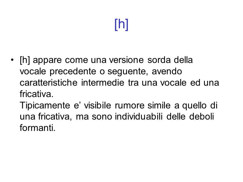 [h] appare come una versione sorda della vocale precedente o seguente, avendo caratteristiche intermedie tra una vocale ed una fricativa. Tipicamente