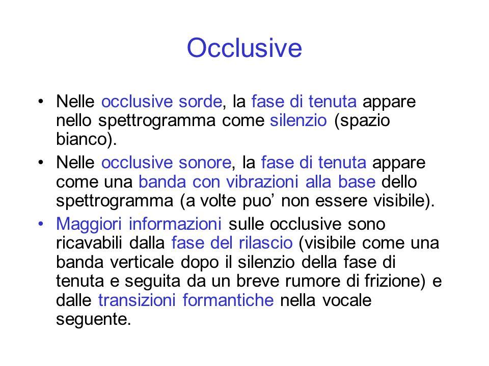 Occlusive Nelle occlusive sorde, la fase di tenuta appare nello spettrogramma come silenzio (spazio bianco). Nelle occlusive sonore, la fase di tenuta