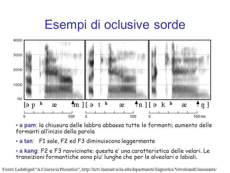 Esempi di oclusive sorde a pam: la chiusura delle labbra abbassa tutte le formanti; aumento delle formanti allinizio della parola a tan: F1 sale, F2 e