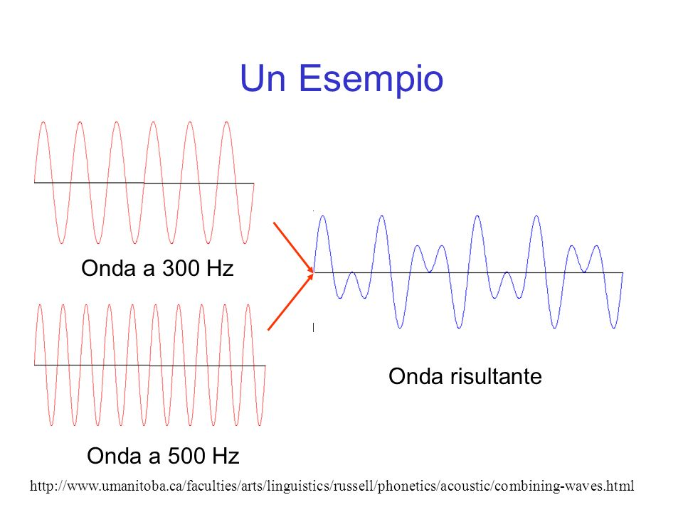 Un Esempio Onda a 300 Hz Onda a 500 Hz Onda risultante http://www.umanitoba.ca/faculties/arts/linguistics/russell/phonetics/acoustic/combining-waves.h