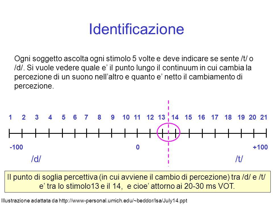 Esperimento Viene creato un continuum di stimoli con differenti durate di VOT, per esempio, con valori ai due estremi di –100 ms e + 100 ms con increm