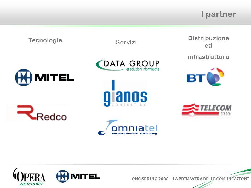 ONC SPRING 2008 – LA PRIMAVERA DELLE COMUNCAZIONI I partner Tecnologie Servizi Distribuzione ed infrastruttura